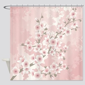 Dusky Pink Vintage Cherry Blossom Shower Curtain