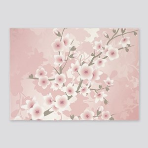 Dusky Pink Vintage Cherry Blossom 5'x7'Area Rug