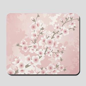 Dusky Pink Vintage Cherry Blossom Mousepad