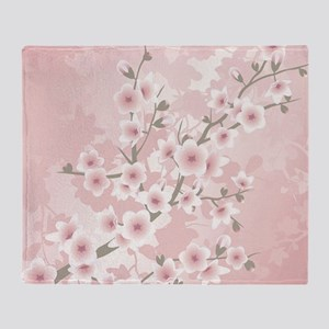 Dusky Pink Vintage Cherry Blossom Throw Blanket