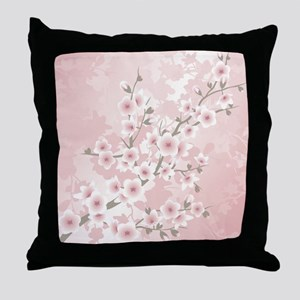 Dusky Pink Vintage Cherry Blossom Throw Pillow