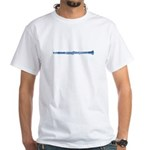 Blue Woodcut Clarinet White T-Shirt
