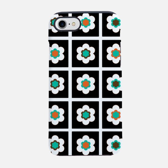 Modern Flowers In Black Tile iPhone 8/7 Tough Case