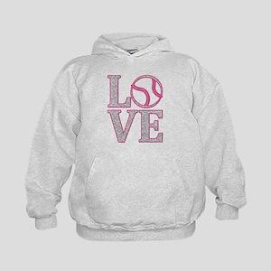 LOVE SOFTBALL/BASEBALL GLITTER PINK Sweatshirt