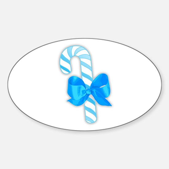 Pastel Blue Candy Cane Oval Decal