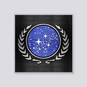 "STARTREK UFP METAL 1 Square Sticker 3"" x 3"""