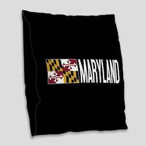 Maryland: Marylander Flag & Ma Burlap Throw Pillow