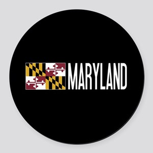 Maryland: Marylander Flag & Maryl Round Car Magnet