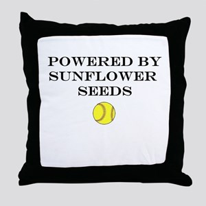 Powered By Sunflower Seeds Throw Pillow