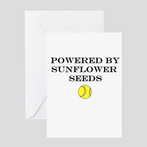 Powered By Sunflower Seeds Greeting Cards