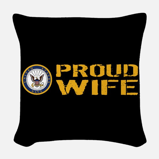 U.S. Navy: Proud Wife (Black) Woven Throw Pillow