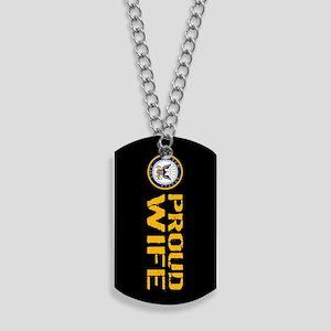 U.S. Navy: Proud Wife (Black) Dog Tags