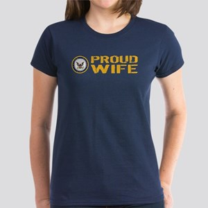 U.S. Navy: Proud Wife Women's Dark T-Shirt
