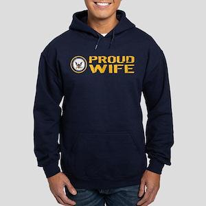 U.S. Navy: Proud Wife Hoodie (dark)