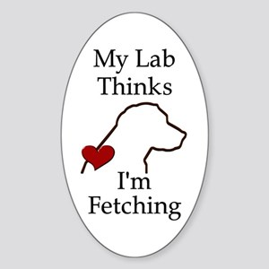 My Lab Thinks.... Sticker (Oval)