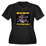 Music Instruments In Space Women's Plus Size V-Nec