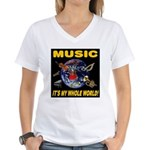 Music Instruments In Space Women's V-Neck T-Shirt