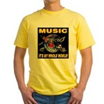 Music Instruments In Space Yellow T-Shirt