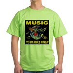 Music Instruments In Space Green T-Shirt