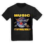 Music Instruments In Space Kids Dark T-Shirt