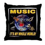 Music Instruments In Space Throw Pillow