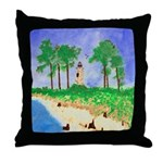 Madisonville Lighthouse Paint Throw Pillow