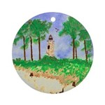 Madisonville Lighthouse Paint Ornament (Round)