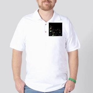 art asian flower in black Golf Shirt