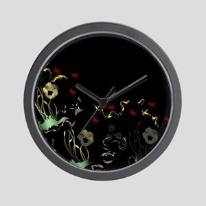 art asian flower in black Wall Clock