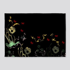 art asian flower in black 5'x7'Area Rug