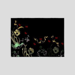 art asian flower in black 5'x7'Area Rug