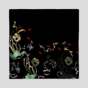 art asian flower in black Queen Duvet