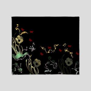 art asian flower in black Throw Blanket