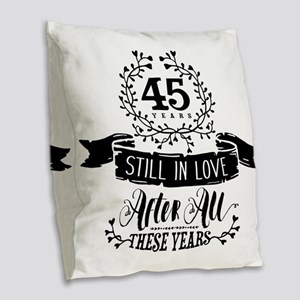 45th Anniversary Burlap Throw Pillow