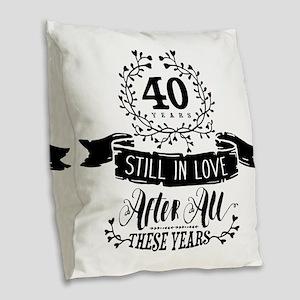 40th Anniversary Burlap Throw Pillow