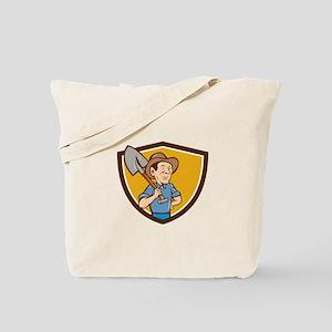 Farmer Shovel Shoulder Crest Cartoon Tote Bag
