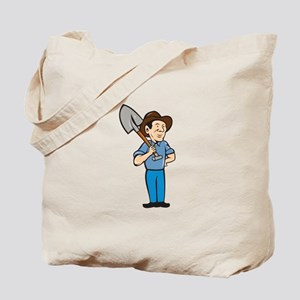 Farmer Shovel Shoulder Standing Cartoon Tote Bag