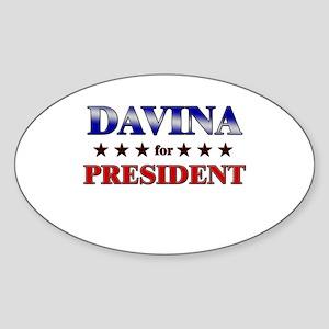 DAVINA for president Oval Sticker