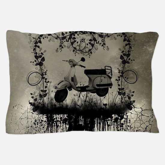 Vintage design with vespa and flowers Pillow Case