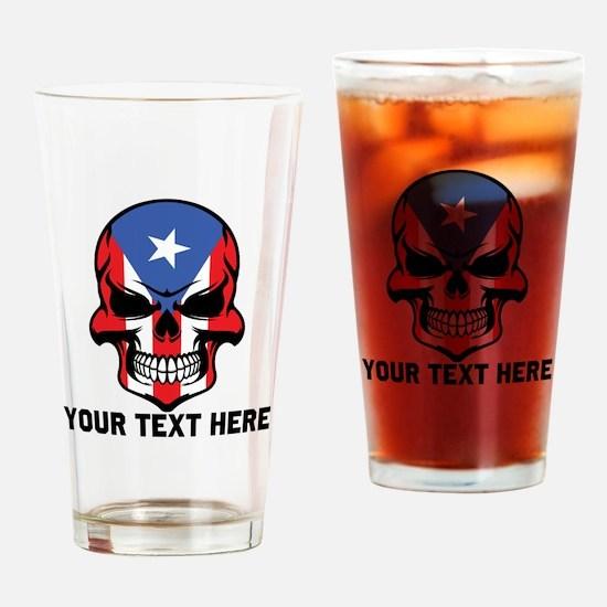 Puerto Rican Flag Skull (Custom) Drinking Glass