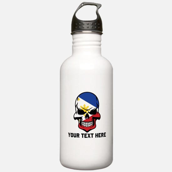 Filipino Flag Skull (Custom) Water Bottle