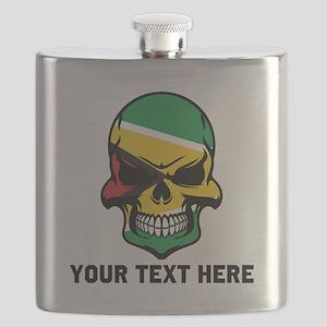 Guyanese Flag Skull (Custom) Flask