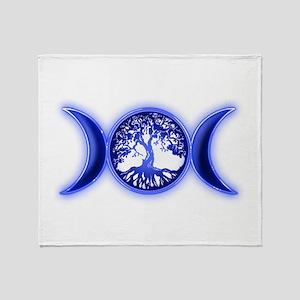 blue tree of life waxing waying moon Throw Blanket