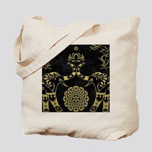 Lotus Flower Elephants Mandala Gold & Bla Tote Bag