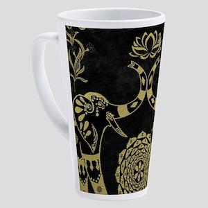 Lotus Flower Elephants Mandala Gol 17 oz Latte Mug