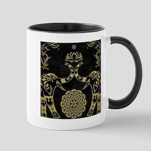 Lotus Flower Elephants Mandala Gold & Black Mugs