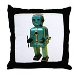 60's vintage blue Robot Throw Pillow
