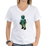 60's vintage blue Robot Women's V-Neck T-Shirt
