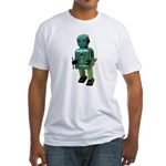 60's vintage blue Robot Fitted T-Shirt