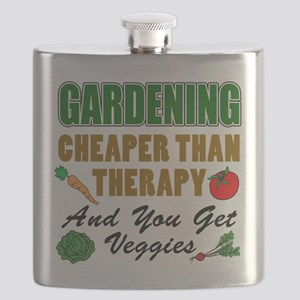 Gardening Cheaper Than Therapy Flask